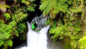 New Zealand kayaker Jan Rohrer paddles a waterfall in his kayak on the Kaituna near Rotorua on New Zealand's north island.
