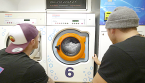pro paddlers Bren Orton and adrian Mattern fooling around in a laundry for the filming of their latest short film entry of the kayak session short film awards ©kayaksession.com