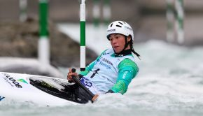 Brazil's Ana Satila at the 2020 kayak Slalom World Cup in Tacen (Slovenia)