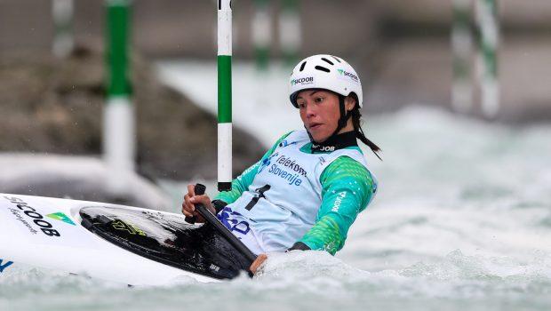 Brazil's Ana Satila at the 2020 kayak Slalom World Cup in Tacen (Slovenia)