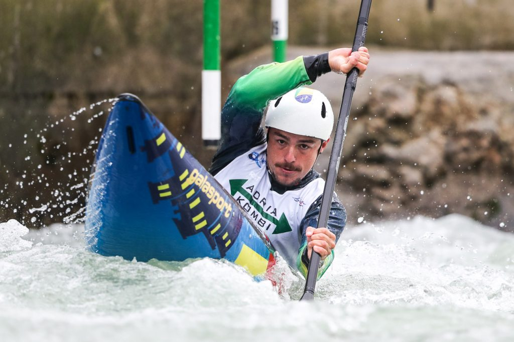 Brazilian Pedro Goncalves at the 2020 kayak Slalom World Cup in Tacen (Slovenia)