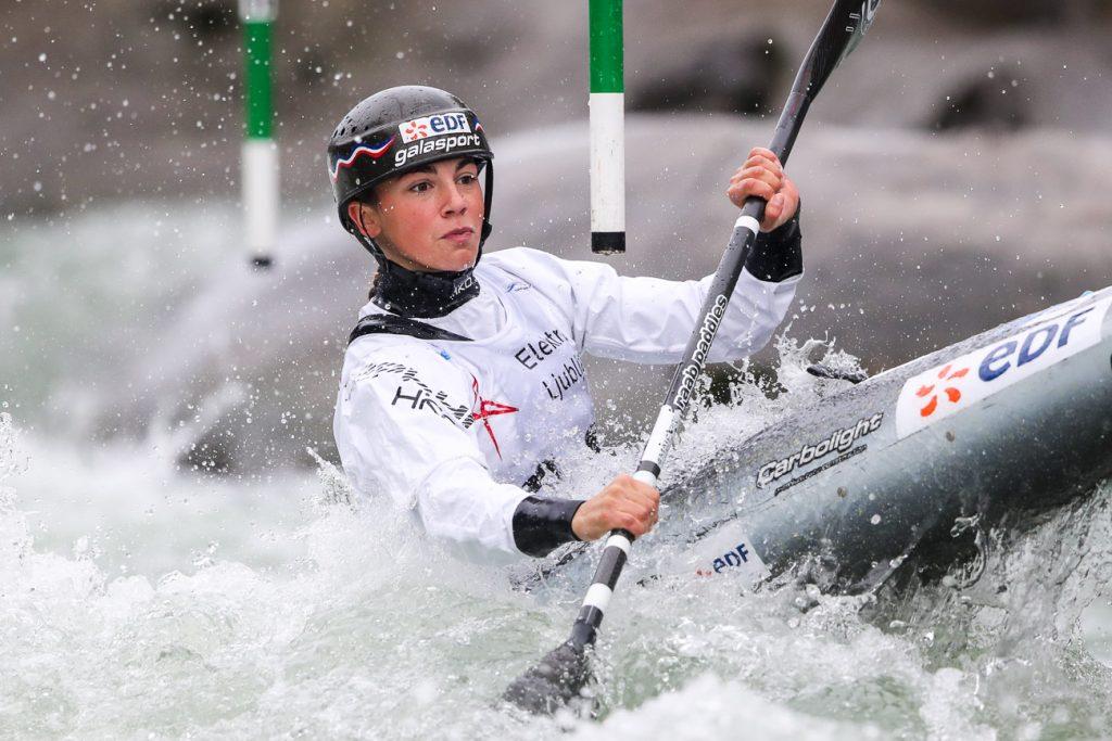 Romane Prigent Brazilian at the 2020 kayak Slalom World Cup in Tacen (Slovenia)