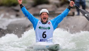 Swedish Isak Ohrstrom at the 2020 kayak Slalom World Cup in Tacen (Slovenia)