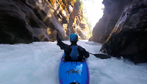 french kayaker Simon Habasque kayaking in the pyrennees