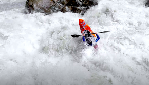 Bren Orton kayaking the infamous Wellerbrucke section ofd the Oetz river in Austria.
