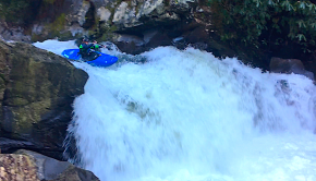 Louie Chiappetta paddling the Nantahala Cascades