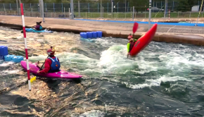The River Rascals, Ollie Lloyd and George Whittal William at the Cardiff whitewater Park.