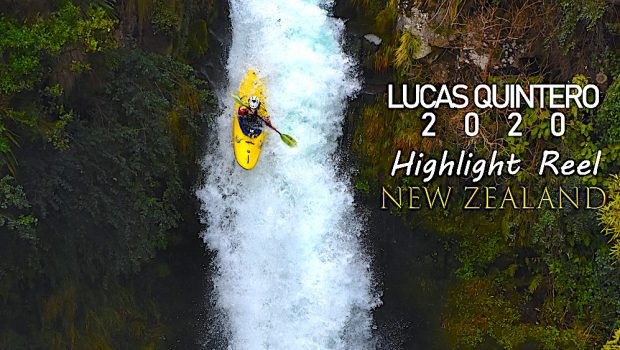 Lucas Quintero from Argentina kayaking a water in New Zealand.