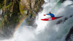 Bren Orton paddles a Pyranha Ripper half slice kayak, made both for playing on the river but also steep creeking and waterfalls runs