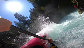 """Dane Jackson sending some cool stuff off Spirit Falls! """"Spirit started to look like a really good flow to throw some downriver freestyle. So I picked a sunny day, met up with the crew, and had a stout few hours hucking whatever came to mind out there!"""""""