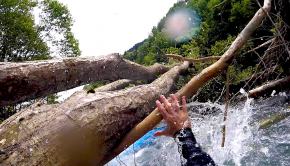 Unfortunately, due to a misunderstanding of communication, Italian paddlers Fabian Playboater, Luca Pante and Fabio Bergamaschi end up in a sketchy situation with some trees on the Bedretto River in Ticino Switzerland.