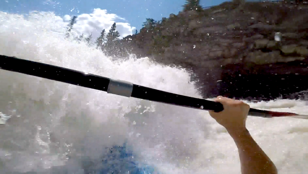 """Watch Odin Pryor taking a nice beating in a sticky hole on Bow Falls! """"Downtown Banff AB has more to offer than you thought. As the Bow river comes though town the largest rapid on the run has become a tourist destination for all those who visit. Who docent love swimming in front off hundreds of tourists."""" By: Odin Pryor"""