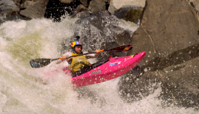 After a year's hiatus, the ninth North Fork Championship once again kicked off in Banks, Idaho, where familiar faces were joined by a crowd of up and comers to make the NFC's largest-ever competitive field. This year, under new ownership from the Voorhees family (Mike, Jodi, Alec, Hayden, and Connor), the event returned to the traditional race format of Qualifier, Boater X, and the Giant Slalom on Jake's, where 35 athletes would compete for the chance to be North Fork King or Queen and earn themselves a big, fat, $5000 check. Thursday morning, over 150 registered athletes and last-minute hopefuls gathered to compete in the Kokatat Qualifier on S-Turn rapid to try and earn themselves a spot to race at Jake's. 10 spots for the men and all 5 for the women were up for grabs. The crowds gathered at Payette Brewing in Boise for the North Fork Film Festival and race results later that night. The range of ages and talent was impressive, with veterans like Women's winner Natalie Anderson standing onstage with 16-year old Maddie Kimmel, while Men's top qualifier Bernie Engleman was accompanied by up and comers who had never been to the North Fork before and local legends Chad and Tren Long. Friday kicked off bright and early with the North Face Boater Cross, brutal battles won by Sage Donnelly and Dane Jackson. On Saturday, with the river at a lower flow of 1800 CFS but a challenging course, the banks were packed, safety was set, the Red Bull Ramp was built, and the Tower of Power was ready to kick things off. DJ Revolve pumped the beats, keeping the vibe and stoke high. New this year was a Livestream broadcast of the event thanks to John Grace and his crew at the Hammer Factor. The Livestream is still available for purchase at www.hammerfactor.com/NFC-Live. $5 of each purchase goes to Idaho United. Anticipation was high, and spectators could be heard making bets… Who would miss Gate 2? Would Dane Jackson earn his 4th NFC title and take the triple crown, winning the Qualifier